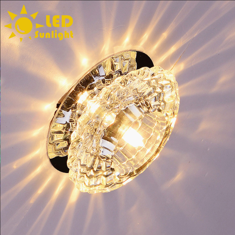 Hot Easy to install 110V 220V 3W high quality modern crystal ceiling lamp warm white colorful corridor lights Also can embedded(China (Mainland))