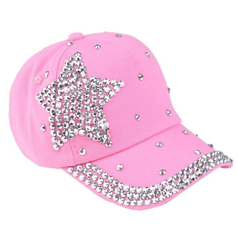 063006 Amazing 5 Colors Fashion Children Kids Baseball Cap Rhinestone Star Shaped Boy Girls Snapback Hat Summer(China (Mainland))