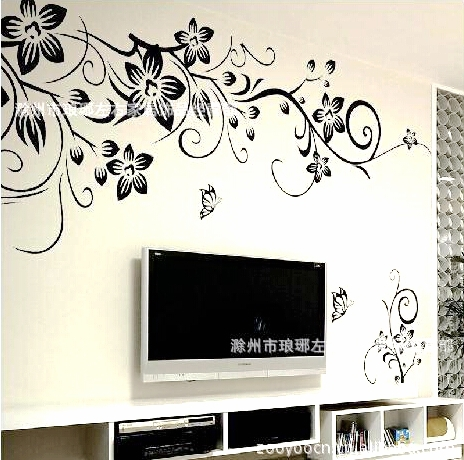 Hot Sale 2015 Wall Decal DIY Decoration Fashion Romantic Flower Wall Sticker /Wall Stickers Home Decor Manufacture Free Shipping(China (Mainland))