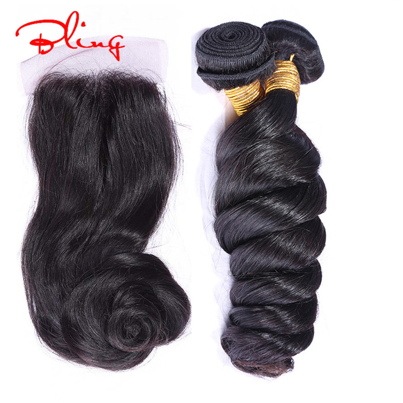 6A Grace Hair Products With Closure Malaysian Virgin Hair With closure Loose Curly 3pcs Human Hair Bundles With Lace Closure
