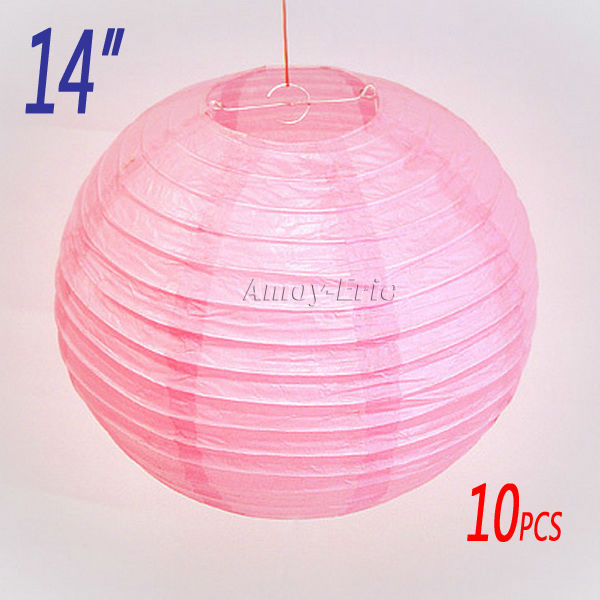 10 X 14 inch (35cm) Pink Chinese / Japanese Paper Lantern Light Lampshade for Xmas Festival Wedding BBQ Party Decoration(China (Mainland))