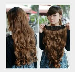 A piece of long BROWN extensions five card volume hair extensions seamless piece heat resistant Ladys(China (Mainland))