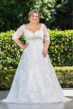 fashion romantic plus size wedding dress 2016 3/4 sleeves appliques lace beaded sweetheart women bridal marry gown vestido noiva(China (Mainland))