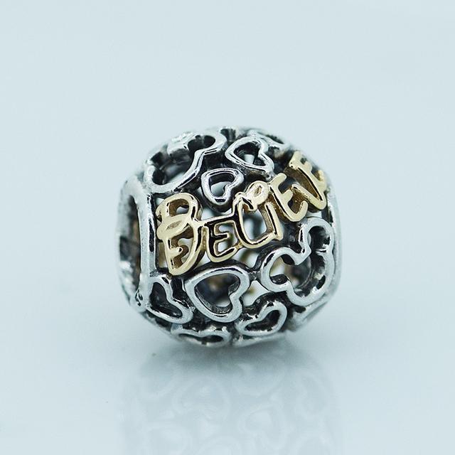 В форме сердца поверьте шарм бусины стерлингового серебра 925 ювелирных изделий подходит для бандуры змея цепи подвески браслеты и ожерелья бесплатная доставка