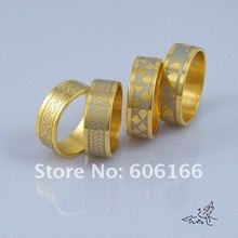 7.5mm 18K GP Gold Plated Ring Stainless Steel Rings Fine Fashion Jewelry 30pcs/lot FREE SHIPPING(China (Mainland))