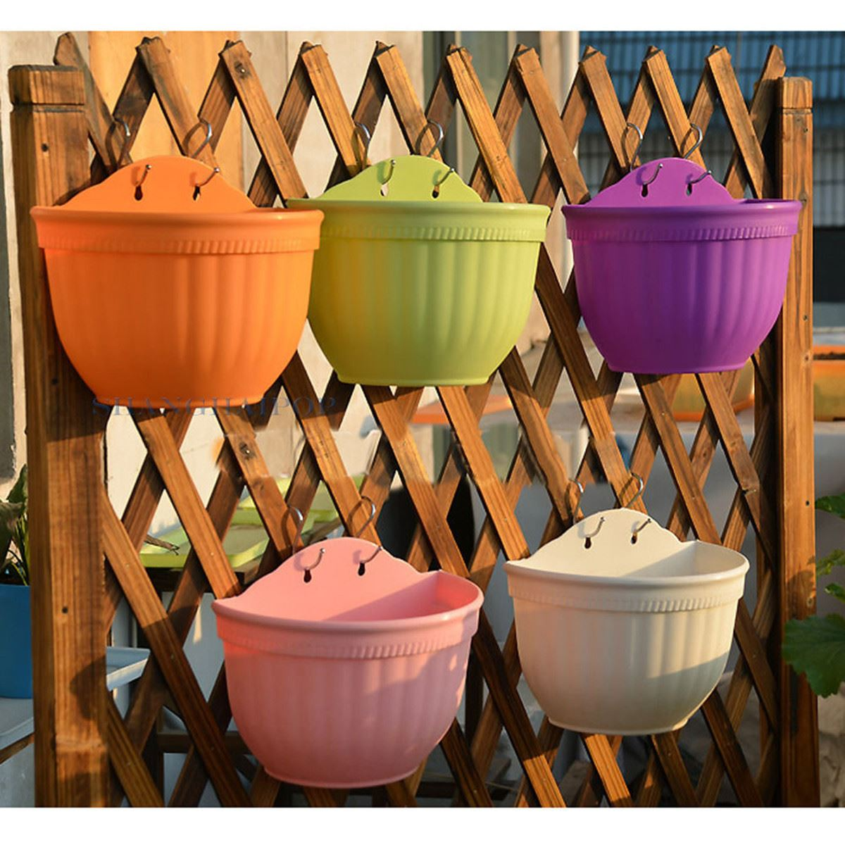 Colorful Plastic Flower Pots Wall Hanging Garden Half