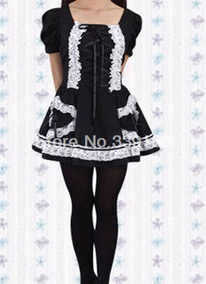 2014 Black Short Puff Sleeve Cotton Girls Mini Lolita Dress Lace Square Collar Kawaii Patchwork Bow Sweet Lolita Dresses(China (Mainland))