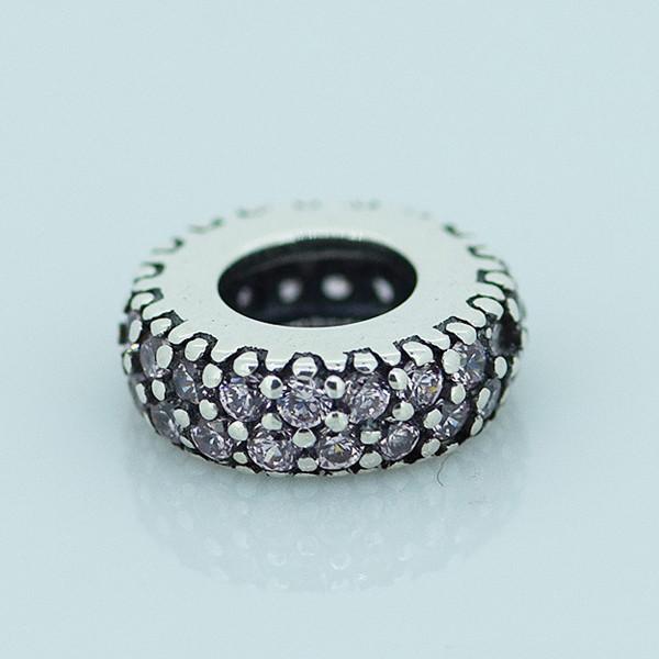 Чистый 925-Sterling-Silver ювелирные изделия розовый CZ камни золотой шарики прокладки бусины Fit пандора браслет DIY женщин мода ювелирных изделий