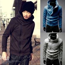 2015 Mens Casual Oblique Front Zipper Irregular Hoodies Tops Jackets Coats 5 Color L XL XXL Coat 4046(China (Mainland))