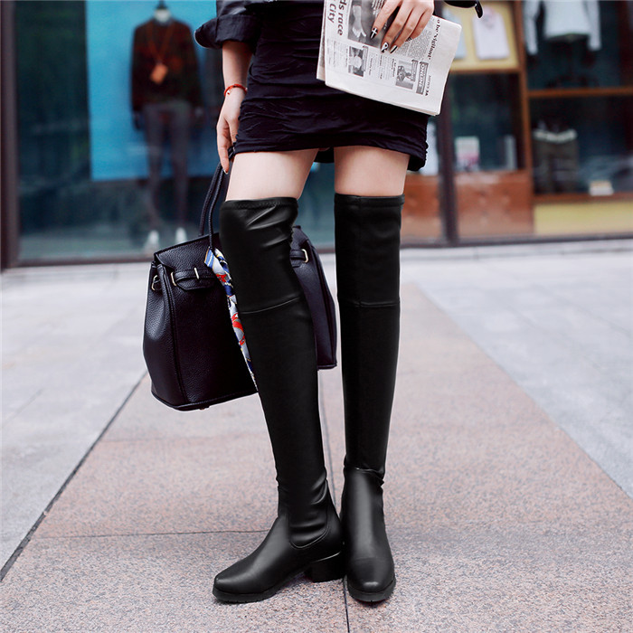 free shipping PU soft leather winter autumn boots solid plain women shoes pointed toe over knee night entertainment venue<br><br>Aliexpress