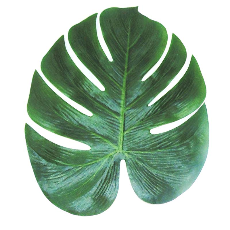 12pcs NEW 35x29cm Artificial Tropical Palm Leaves Simulation Leaf For Hawaiian Luau Party Jungle Beach Theme Party Decorations(China (Mainland))