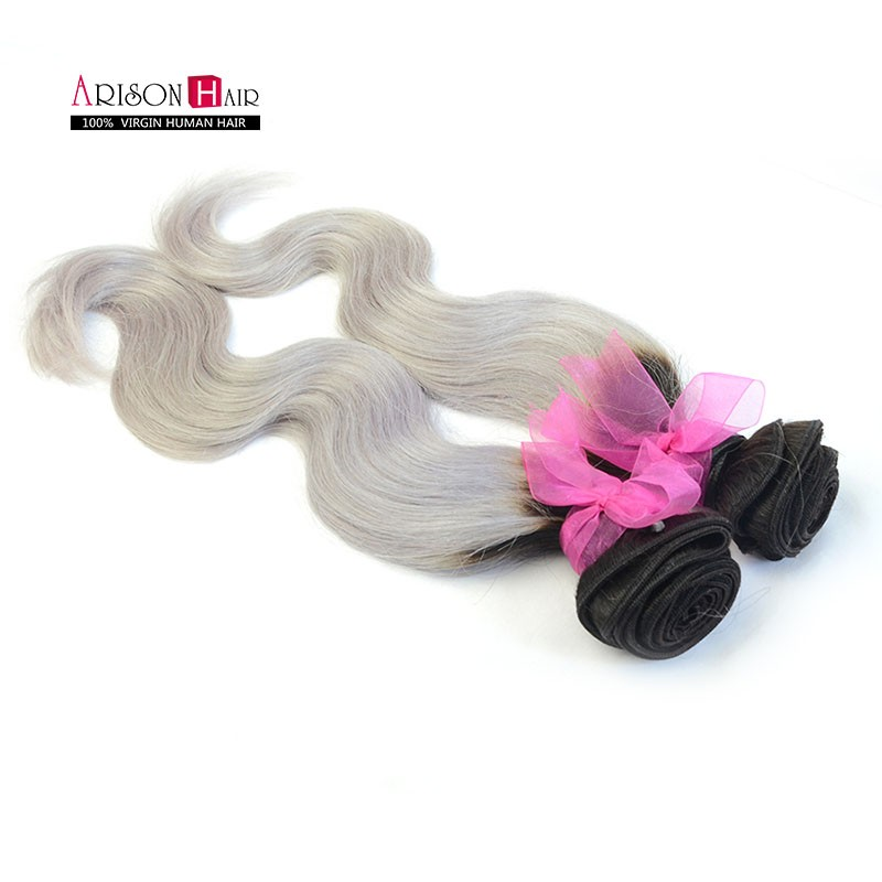 12''-24'' Cheap Price Indian Hair Two Tone Ombre Grey Extension Silver Grey Ombre Human Hair Weft 1B Gray Объемная волна Hair Weaving
