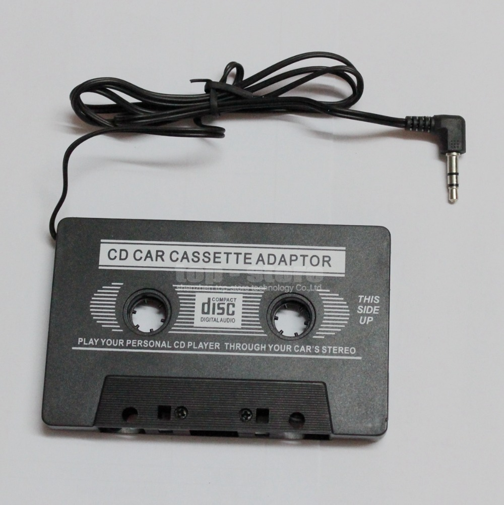 Wholesale 3.5mm Near CD quality Black Car Audio Cassette Adapter for iPod / MP3 / CD Player for Iphone(China (Mainland))