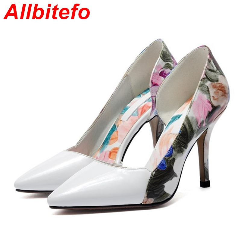 Фотография 3 colors fashion printing flowers full genuine leather women pumps 2015 NEW cool sexy high heels ladies party wedding shoes