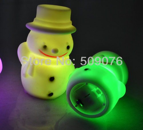 free shipping 100pcs/lot Colorful snowman nightlight LED Christmas gift luminous toys<br>