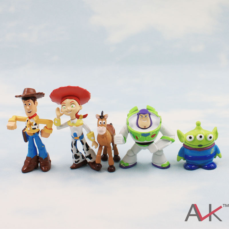Toy Story 3 party buzz Lightyear Woody Green Man Action Figures 5pcs/lot 5cm Mini Toy(China (Mainland))