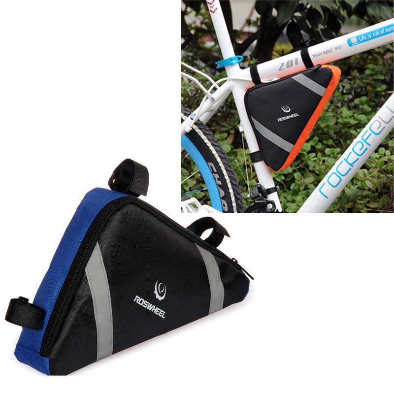 New Waterproof Roswheel Mountain Bicycle Bike Bag Front Frame PVC Tube Triangle Bag Blue/Orange(China (Mainland))