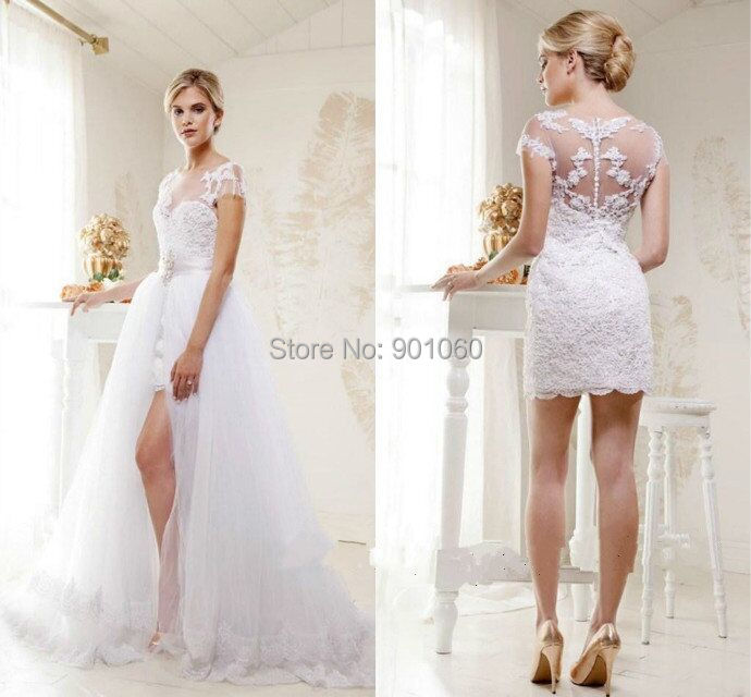 2015 removable train wedding dresses lace short sleeves for Short wedding dress with removable train