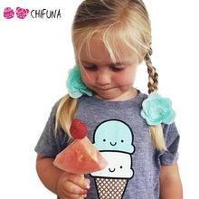 Korean Style 2016 Summer Kids Tops Girls Short Sleeve T Shirt Cotton Cute Ice Cream Print Tee Shirt Children Clothes 1-4Y