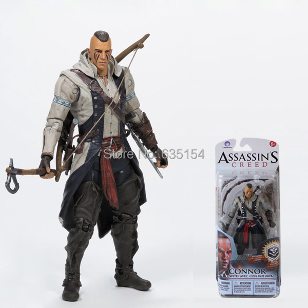 Wholesale 5pcs/pack Action Figure Model Toys Brand New Assassin's Creed 3 Connor (With Mohawk) 14cm PVC Game Action Figure Toy