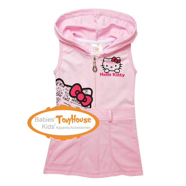 New Arrival Hello Kitty dress girl hoodies dress sleeveless cartoon cat dress girl clothes free shipping