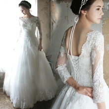 Wedding Dresses 2016 Vestido De Noiva Luxury French Tulle Lace Wedding Dress Long Sleeve Vantage Bride Boat Neck Bridal Gowns