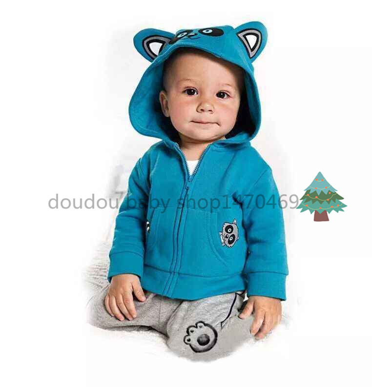 2015 retail Autumn Fashion Baby Boy Clothes 2pcs blue 4-24m newborn baby clothes cartoon leopard cat baby tracksuit+casual pants(China (Mainland))