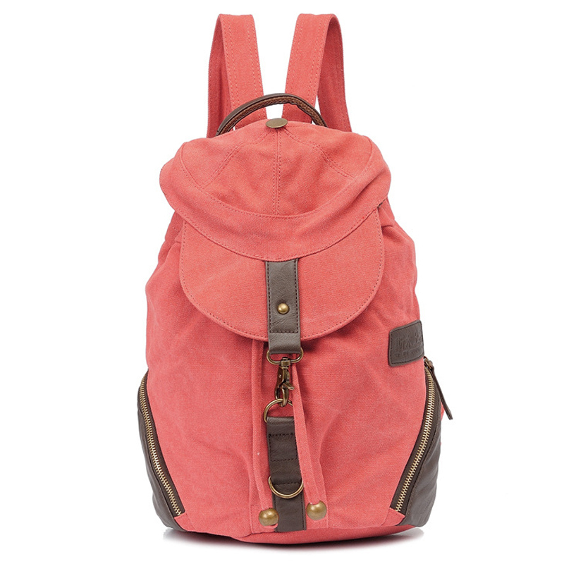 Fashion 2015 Sport Women Canvas Backpacks Teenager Casual Genuine Leather Travel Hiking Hat Cover Pink Shoulder Bags For Ladies(China (Mainland))