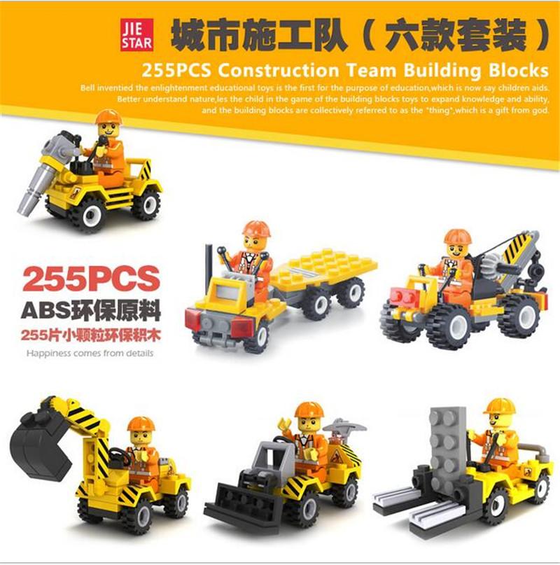 6Pcs/set Construction Team Engineering Excavator Forklift Bulldozer Crane Building Block Kids ToysChristmas gift toy SA672(China (Mainland))