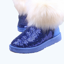 free shipping shoes woman zapatos mujer snow boot winter shoes botas femininas high boot glitter fox botas mujer black 25 s(China (Mainland))