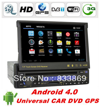 """Single Din 7 """"Android 4.0 Universal Car DVD GPS With Bluetooth phone IPOD RDS TV 3D UI PIP video Radio/RDS SWC free wifi dongle"""