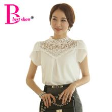Free Shipping New Fashion Elegant White Crochet Lace Short Sleeve Chiffon Shirt 2015 Summer Style White Blouse Women Office Wear(China (Mainland))