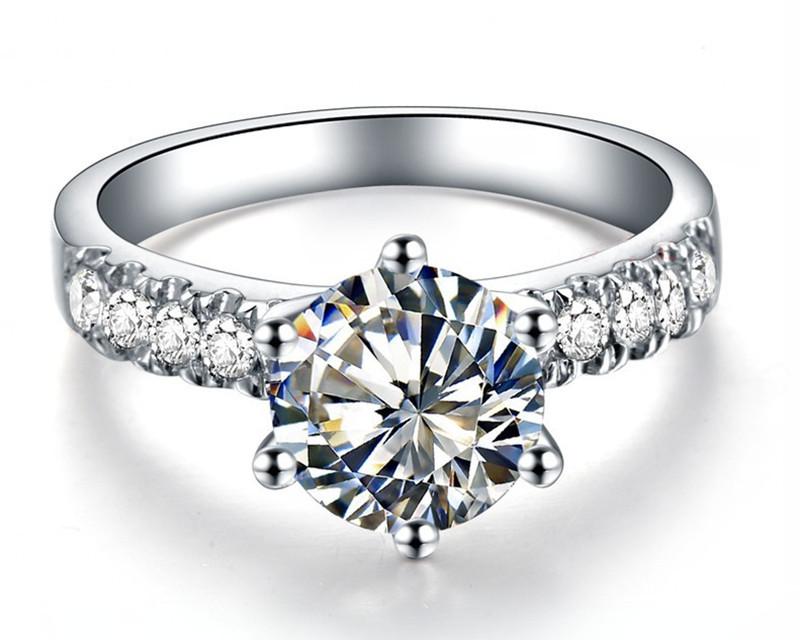 Promise Witness White Gold Jewelry Brand Prongs Ring 2CT SONA Synthetic Diamond Bridal Gift Female Wedding Jewelry Free Box Name(China (Mainland))