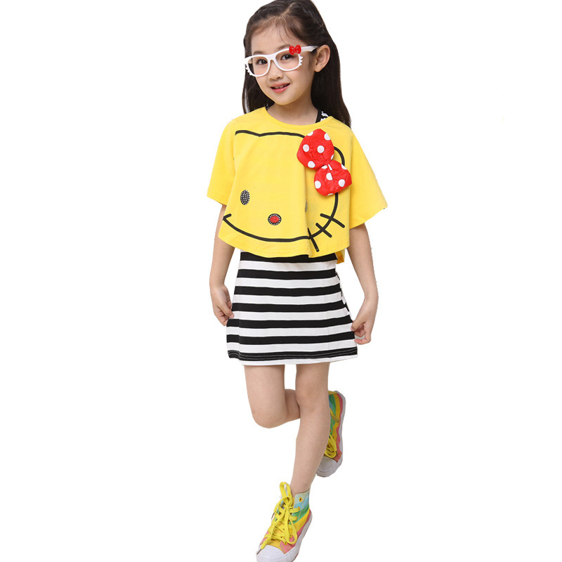 Striped Cartoon Dress Summer Thin Batwing Sleeve Girl Shirt Brief Korean Modal Kids Clothing Set Bow Vest Striped Cartoon Dress(China (Mainland))