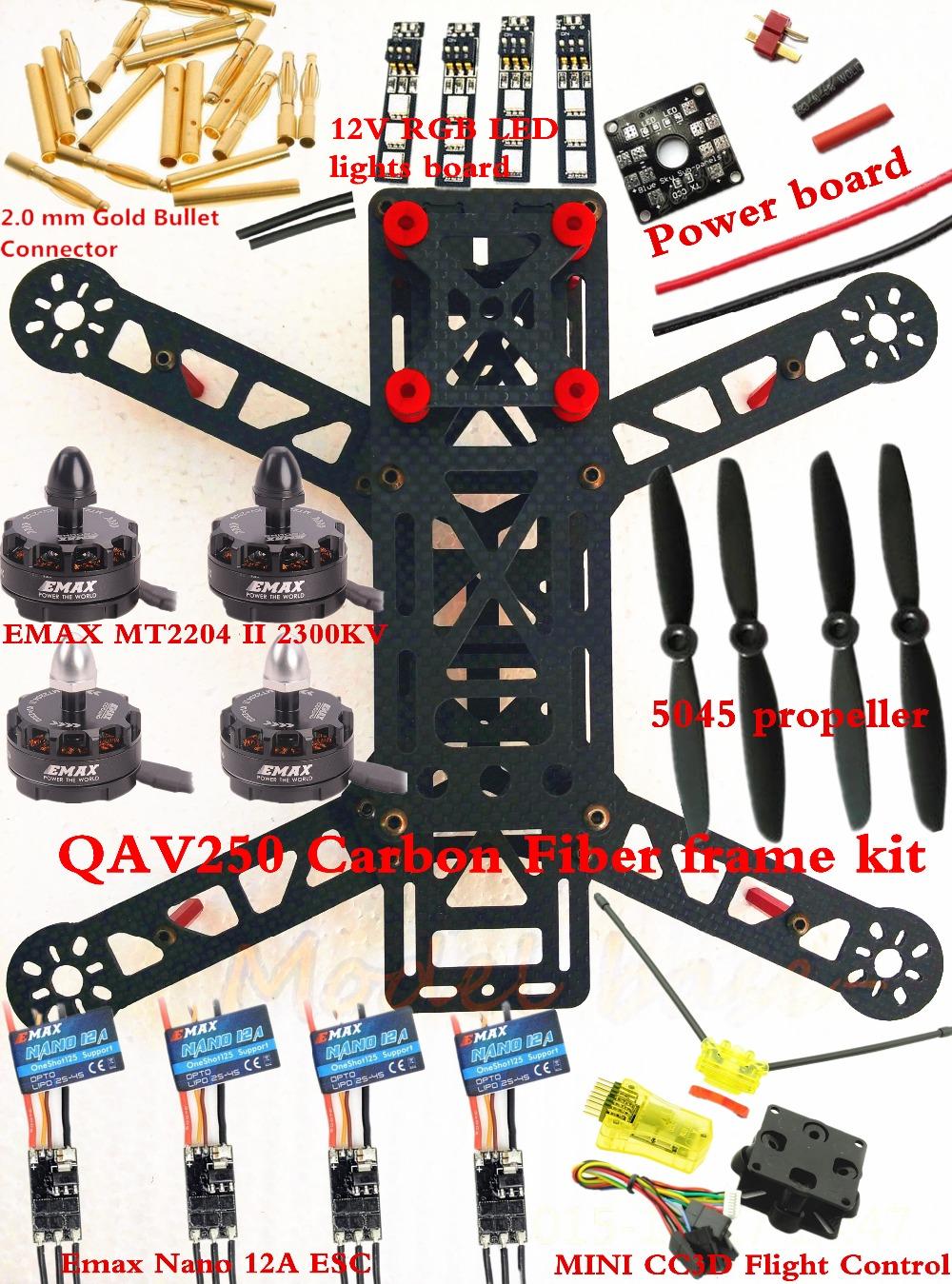 NEW Mini QAV250 Carbon Quadcopter frame kit EMAX MT2204 II 2300KV Cooling Motor+ Emax Nano 12A ESC +MINI CC3D Flight Control<br><br>Aliexpress