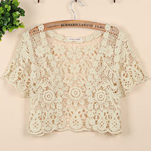 Plus Size S-XL 2016 Brand Women's Short Sleeve Crochet Shrug Lace Hollow Out Many colors Tassel Sweater Cape Cardigan Shurg(China (Mainland))