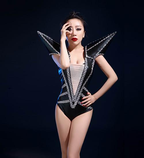 Nightclub Fashion female singer ds dj  sexy bodysuit costumes Female singer ds lead dancer clothing Stage costumes black dress