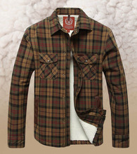 Super Warm Thicken Velvet Shirt Men 2015 Winter Shirt Men Brand Man High Quality Casual Plaid Khaki Shirts Long Sleeve XXXL 4XL(China (Mainland))