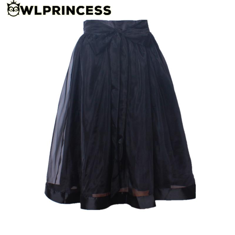 Owlprincess 2016 Women Summer Tulle Skirts Elegant Organza Bow Mesh tutu Skirt Pleated High Waist Girls Saias Kawaii Ball Gown(China (Mainland))