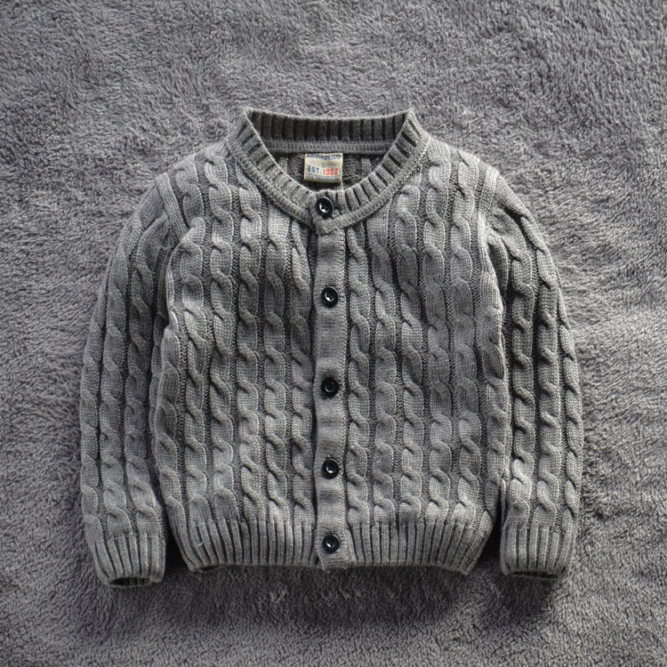 2015 brand Next* clothing kids knitwear boys sweater computer winter thicken solid 2 colors hemp flowers open style gans(China (Mainland))
