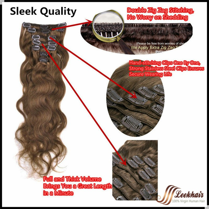 Sally Cheap 15″ 8pcs 90g Straight Clip in human hair extensions 100%  Human Hair Clip on Hair all colors available free shipping