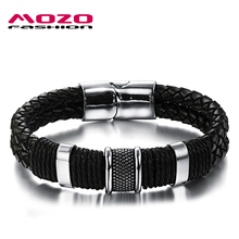 Buy MOZO FASHION Men Charm Bracelet Black Leather Bracelet Stainless Steel Magnetic Clasps Bracelets Male Vintage Jewelry MPH891 for $5.51 in AliExpress store