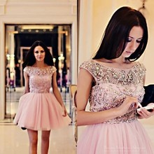 High Quality Luxury Pink Tulle Short Mini Open Back Beaded Crystals Formal Party Gown Vestidos De Fiesta Cocktail Dresses 2014