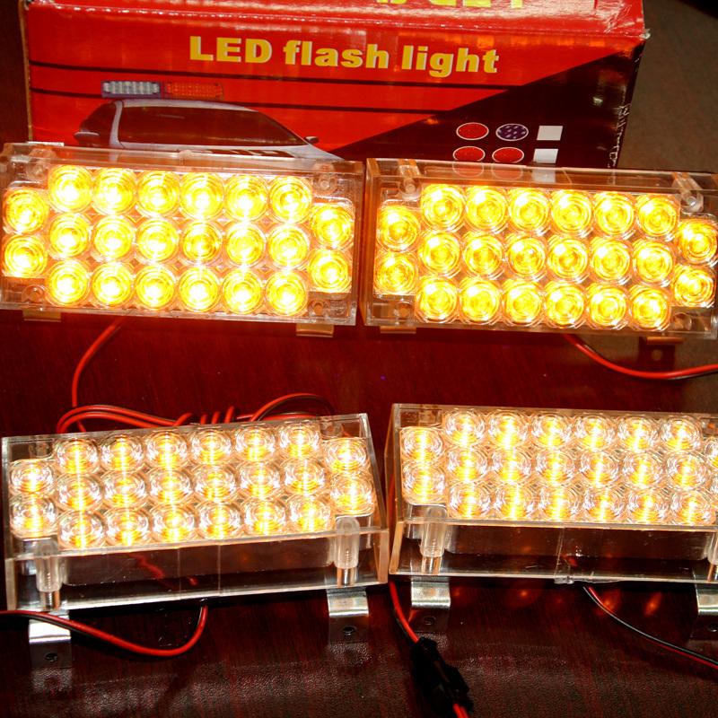 New 12V 4*22LED Amber Beacon LED Flashing Light Warning Lamp Emergency Light with Control Box(China (Mainland))