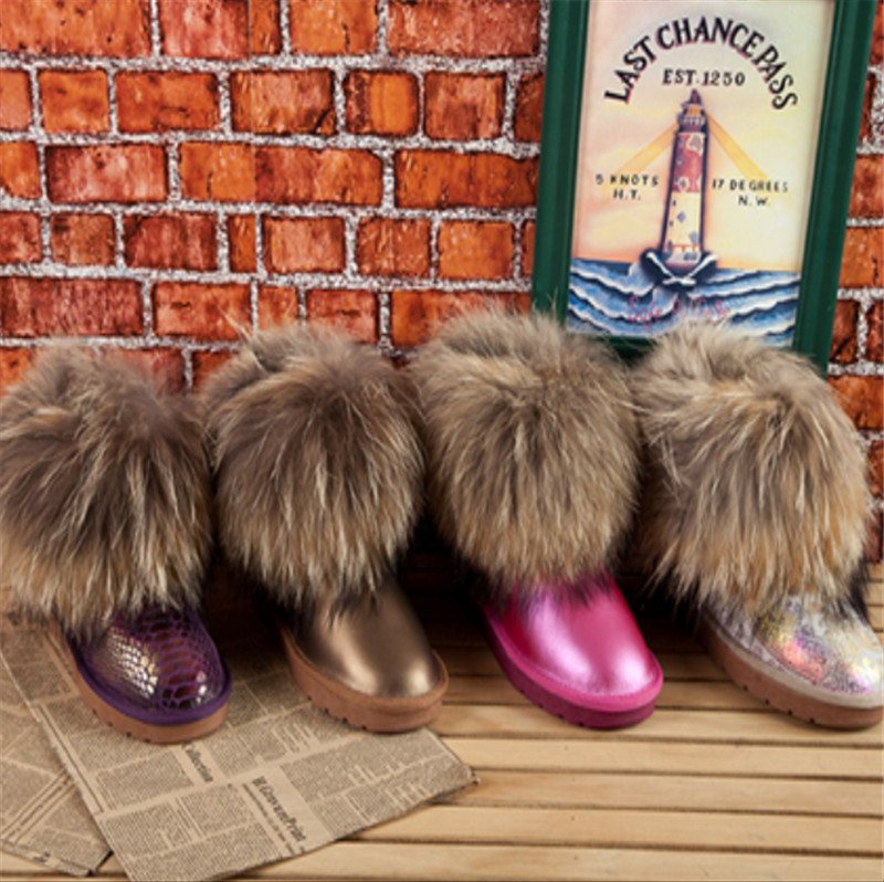 Fox fur snow boots fur one piece snow boots boots plush cow muscle flat heel outsole<br><br>Aliexpress