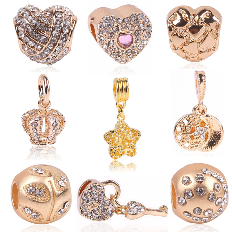 Rose Gold Crystal Beads Fit Pandora Bracelet Necklace Heart Charms Fashion Women Jewelry Big Hole DIY Beads For Jewelry Making(China (Mainland))