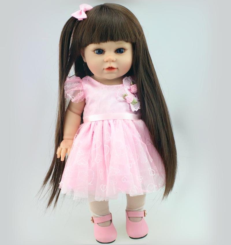 16'' Toddler Girl Dolls Full Vinyl Long Hair American Girl Dolls Toys High-Grade Lovely Gifts for Friends Kids Girls