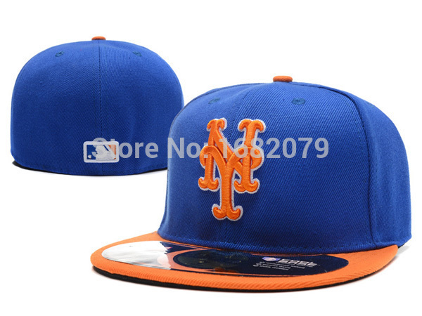 Men's NY sport team fitted caps two tone on field full closed design New York Mets royal blue baseball hats(China (Mainland))
