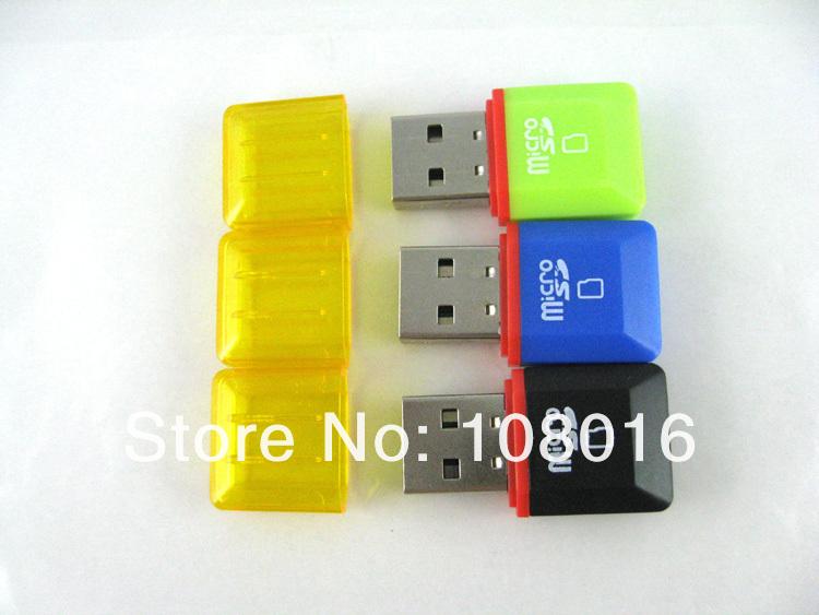 FREE SHIPPING,50pcs/lot, high quality,high speed, small diamond USB 2.0 memory card reader/ TFcard /micro SD card reader(China (Mainland))