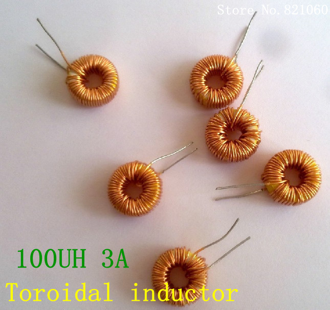 5pcs/lot naked 100UH 3A Toroidal inductor winding inductance magnetic ring inductance (lm2596 dedicated)(China (Mainland))